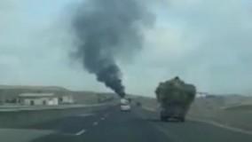 آتش سوزی پژو 206 در محور اردبیل به گرمی