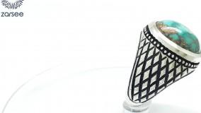 انگشتر مردانه فیروزه نیشابوری رکاب دست ساز حصیری کد R65