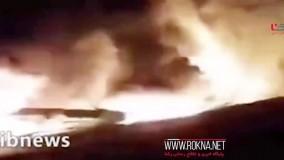 فیلم از فاجعه سقوط هواپیمای اوکراینی در حاشیه جاده اصلی
