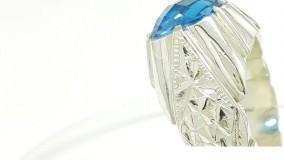 انگشتر نقره مردانه توپاز آبی اصل رکاب دست ساز کد R67
