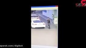 دختر ربایی در ملاعام ؛ در پمپ بنزین رخ داد + فیلم لحظه بازداشت مرد پلید