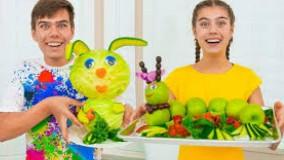 ناستیا و میا ؛ آشپزی با سبزیجات : تزئین به شکل حیوانات
