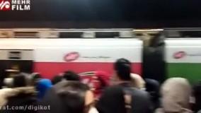 ازدحام جمعیت مترو پس از آتش سوزی در شوش