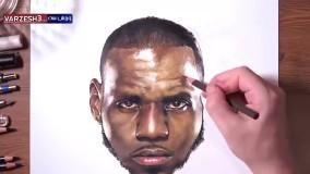 طراحی چهره از لبرون جیمز ستاره NBA