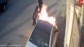 فیلم لحظه آتش زدن سوناتا توسط 2 موتورسوار بوشهری