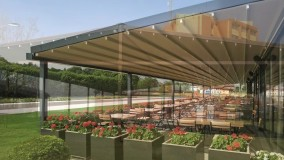 حقانی 09380039391 -زیباترین سقف برقی فودکورت رستوران فرانسوی- سقف جمع شونده حیاط کافی شاپ