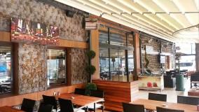 حقانی 09380039391-زیباترین سقف متحرک رستوران-سایبان برقی کافه رستوران-سقف جمع شونده تالار