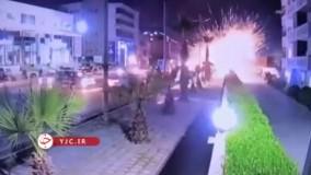 لحظه سقوط یکی از راکت ها به خیابانی در اربیل