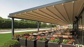 حقانی 09380039391-زیباترین سقف برقی حیاط رستوران-سایبان برقی کافه رستوران-فروش سقف جمع شونده رستوران بام