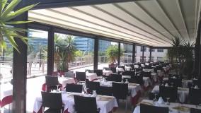 حقانی 09380039391-زیباترین سقف برقی حیاط رستوران-سایبان برقی کافه رستوران-فروش سقف اتوماتیک تالار