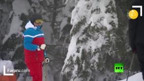 پوتین مهارت خود را در اسکی نشان داد