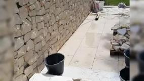 دیوار چینی با سنگ لاشه و ورقه ای