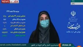 آخرین آمار کرونا در ایران، ۲۵ اسفند ۹۹: فوت ۱۰۰ نفر در شبانه روز گذشته