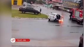 خوش شانس ترین راننده جهان : آتش گرفتن خودرو کنار ماشین آتش نشانی