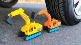 چالش خرد کردن اسباب بازی های کیوت با ماشین
