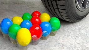 چالش خرد کردن وسایل کیوت زیر ماشین
