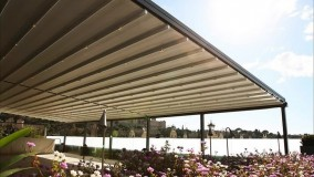 حقانی 09380039391-سقف بازشو حیاط رستوران-فروش سقف برقی تالار-سایبان جمع شونده کافی شاپ