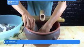 طرز ساخت آبنما موزیکال با گلدان شکسته و چوب بامبو