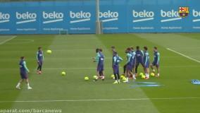 آخرین تمرینات بارسلونا پیش از دیدار با رئال مادرید ( جمعه )