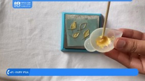 آموزش  زیورآلات رزینی - گوشواره رزینی چند تکه ای با سیم مسی و مهره طرح چند برگ - علیزاده