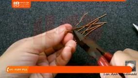 آموزش زیور آلات-ساخت گوشواره با سیم مسی و نگین