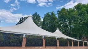 سایبان خیمه ای رستوران- فروش سقف خیمه ای کافه رستوران-سایبان سازه کششی تالار