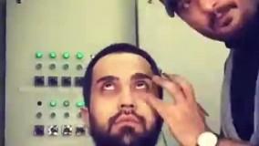"""گریم مسعود شیرانی فرد در نقش آیت الله مطهری در نمایش """"زمان در حبس قصر"""""""
