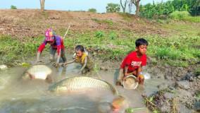 صید انواع ماهی توسط سه بچه پسر