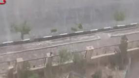 بارش شدید باران و تگرگ در قم