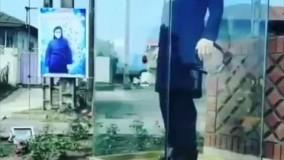 نصب تندیس نرجس خانعلی زاده در میدان کلاچای گیلان