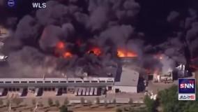 آتش سوزی گسترده در یک کارخانه شیمیایی در آمریکا