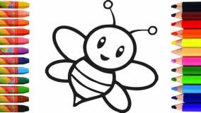 آموزش نقاشی کودکان - نقاشی زنبور عسل - رنگ آمیزی