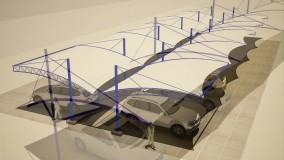 سایبان هلالی ماشین-سقف کششی پارکینگ اتوگالری-حقانی 09380039391-سایبان پارکینگ حیاط کارخانه