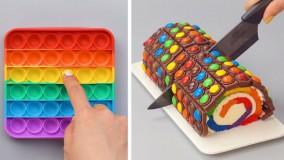 آموزش تزیین رولت کیک شکلاتی :: تزیین کیک و دسر