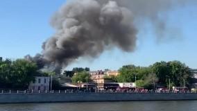 حریق گسترده انبار نگهداری مواد شیمیایی در مسکو