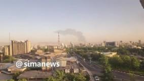 مشاهده ستون دود غلیظ از مناطق جنوب تهران