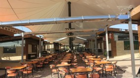 زیباترین سایبان خیمه ای رستوران-فروش سقف خیمه ای حیاط  رستوران-حقانی 09380039391