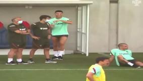 شوخی رونالدو با پپه در تمرینات پرتغال