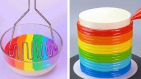 دستورهای کیک رنگارنگ :: آموزش تزیین کیک و دسر رنگین کمانی