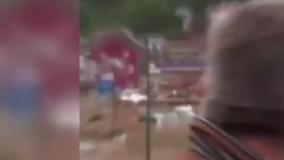 لحظه هولناک زیر آب رفتن یک خانه در بلژیک