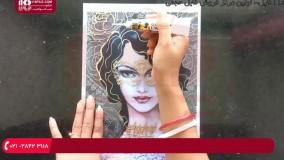 اموزش نقاشی روی شیشه   نقاشی زن هندی