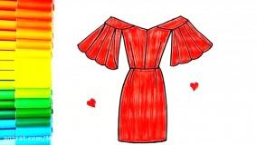 آموزش نقاشی کودکانه - نقاشی لباس زنانه مجلسی