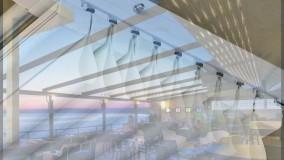 حقانی09380039391-بهترین سایبانهای  متحرک رستوران-فروش سقف برقی کافه رستوران عربی-زیباترین سایبان تاشو حیاط کافی شاپ