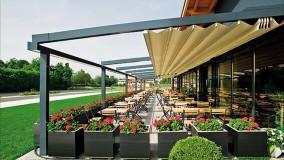 سقف متحرک فودکورت رستوران -حقانی09380039391-زیباترین سایبان جمع شونده تالار پذیرایی
