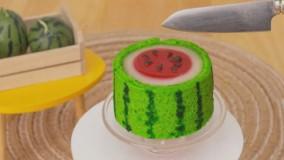 آشپزی مینیاتوری - درست کردن کیک هندوانه ای