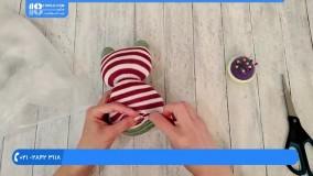 آموزش عروسک سازی :: ساخت عروسک :: عروسک با جوراب :: بافت عروسک با جوراب راه راه قرمز