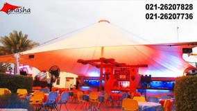 سقف خیمه ای سالن غذاخوری-حقانی09380039391-زیباترین سایبان خیمه ای کافی شاپ-فروش سقف خیمه ای فودکورت
