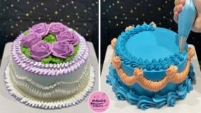 آموزش کیک آرایی فوق العاده زیبا | طراحی کیک بانوان