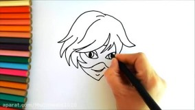 آموزش نقاشی کودکانه | نقاشی گربه سیاه (شخصیت کارتونی لیدی باگ)