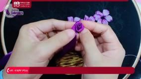 روبان دوزی-الگوی روبان دوزی-آموزش دوخت سبد گل با روبان